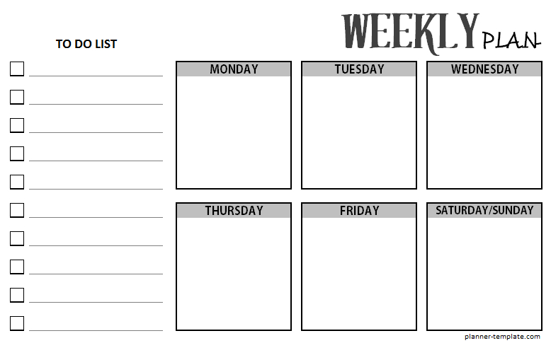 Printable Weekly Planner Template - Schedule For Ms Word, Excel within Weekly Planner For Teachers Template