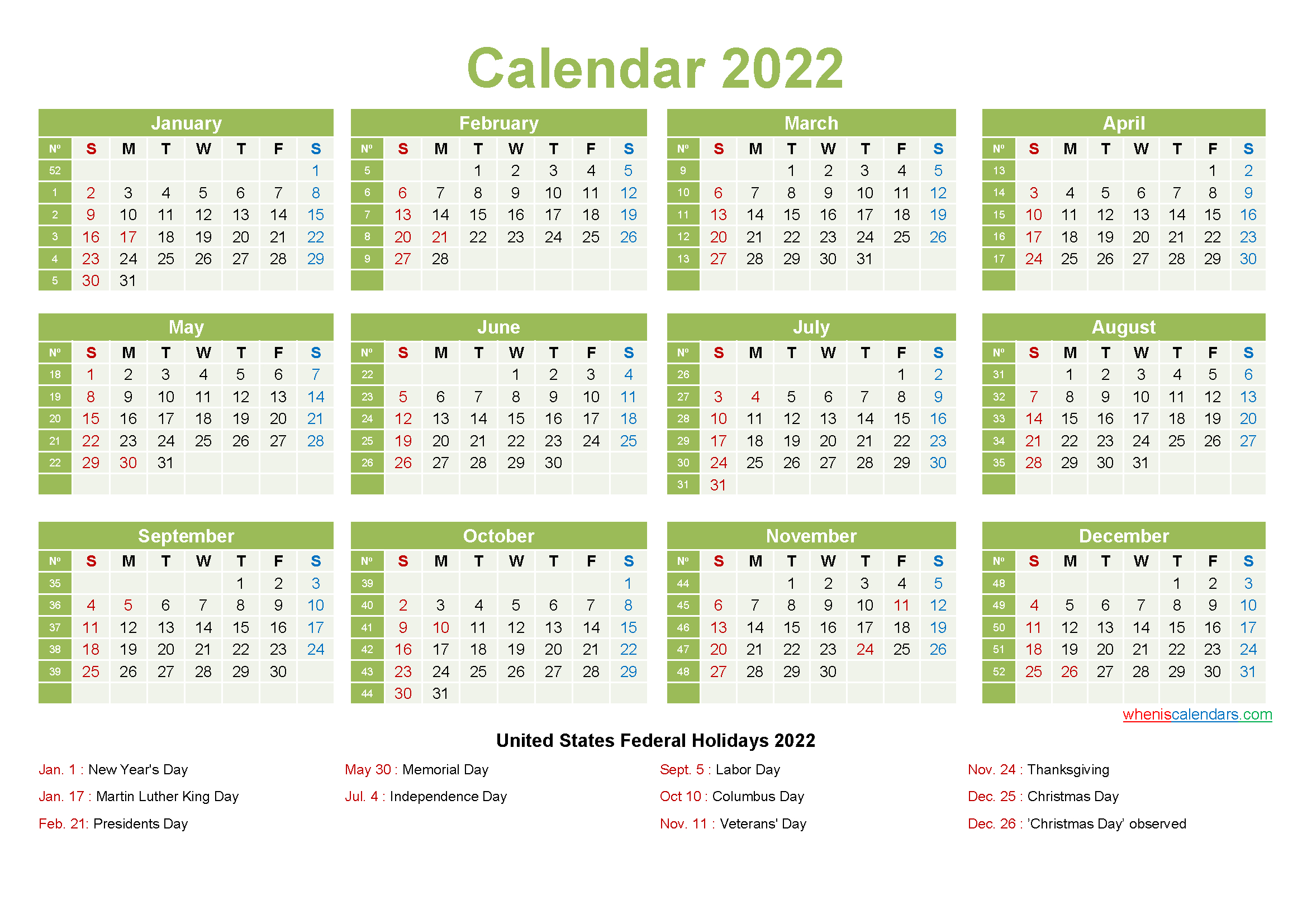 Printable Yearly 2022 Calendar With Holidays Word, Pdf pertaining to Free Printable 2022 Planner