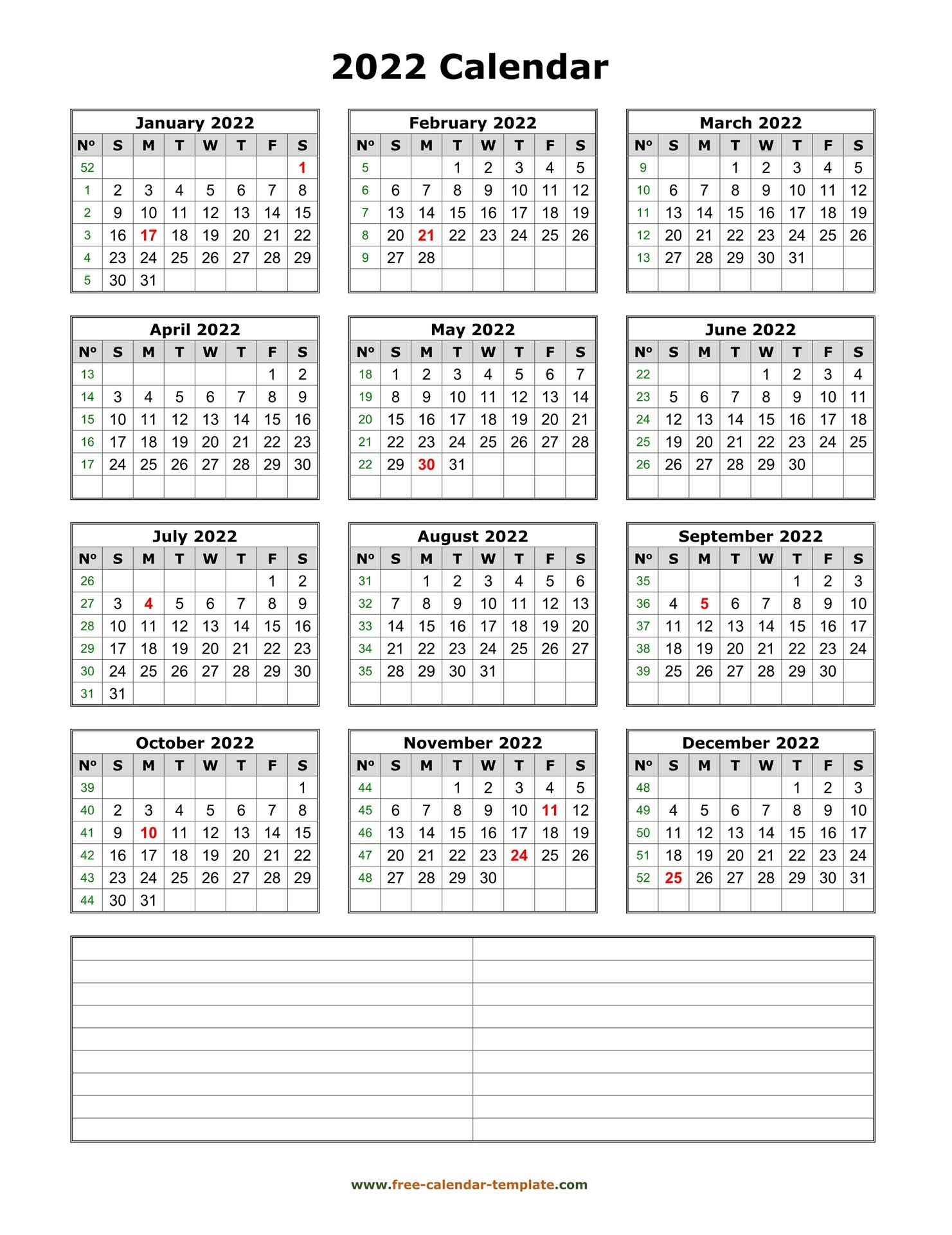 Printable Yearly Calendar 2022 | Free-Calendar-Template with Free Printable Monthly Planner 2022 Photo