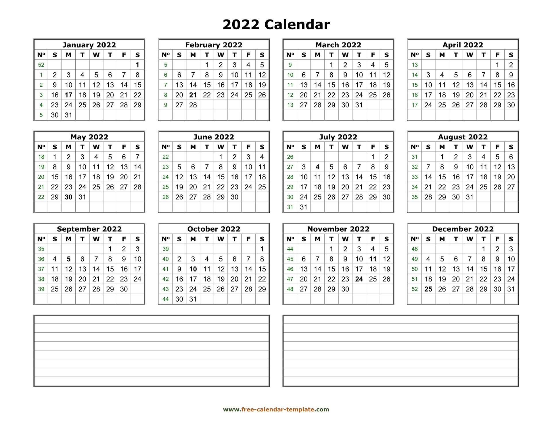 Printable Yearly Calendar 2022 | Free-Calendar-Template with regard to Yearly Planner 2022 Printable Free
