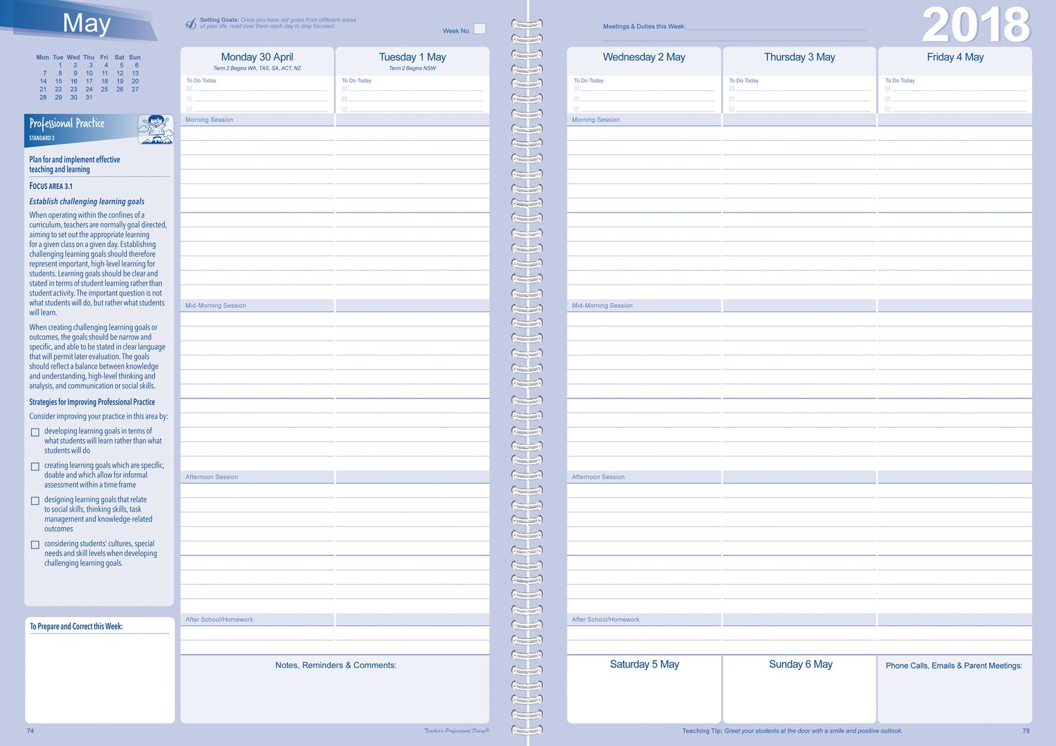 Secondary Professional Practice Weekly Planner 2018 - Wiro for Weekly Planner For Teachers Image