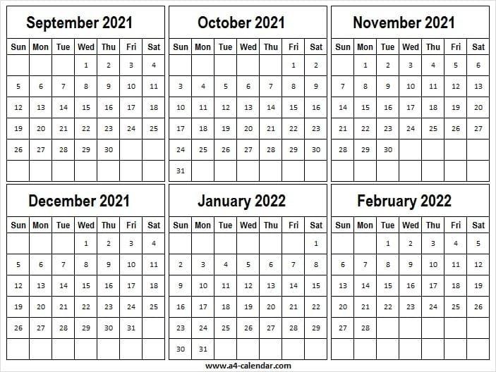 September 2021 To February 2022 Calendar Vertical - Word pertaining to Monthly Calendar September 2022 Graphics