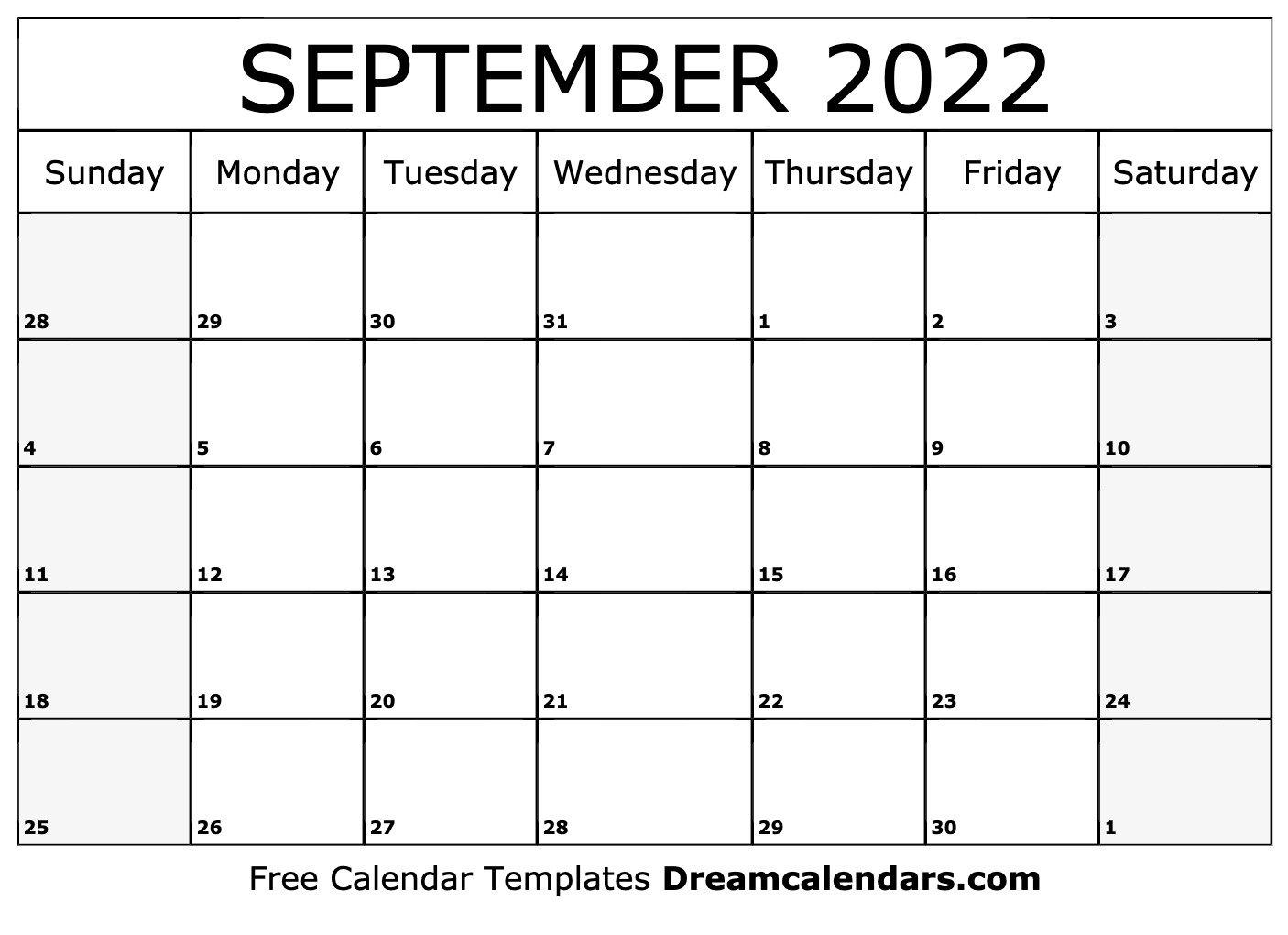 September 2022 Calendar | Free Blank Printable Templates throughout Printable Day Planner 2022