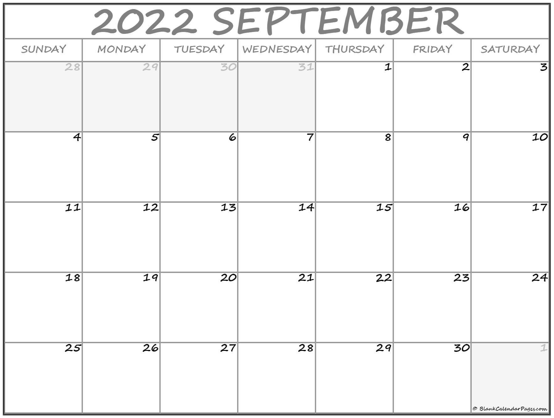 September 2022 Calendar   Free Printable Calendar Templates intended for 2022 Weekly Planner Printable Image