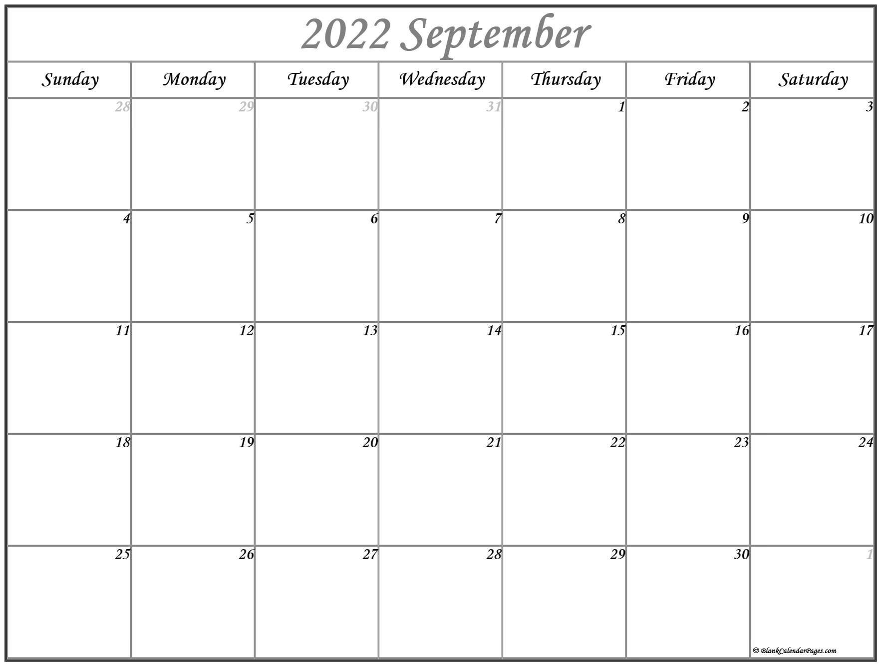 September 2022 Calendar | Free Printable Calendar Templates with Planner 2022 Printable Goal