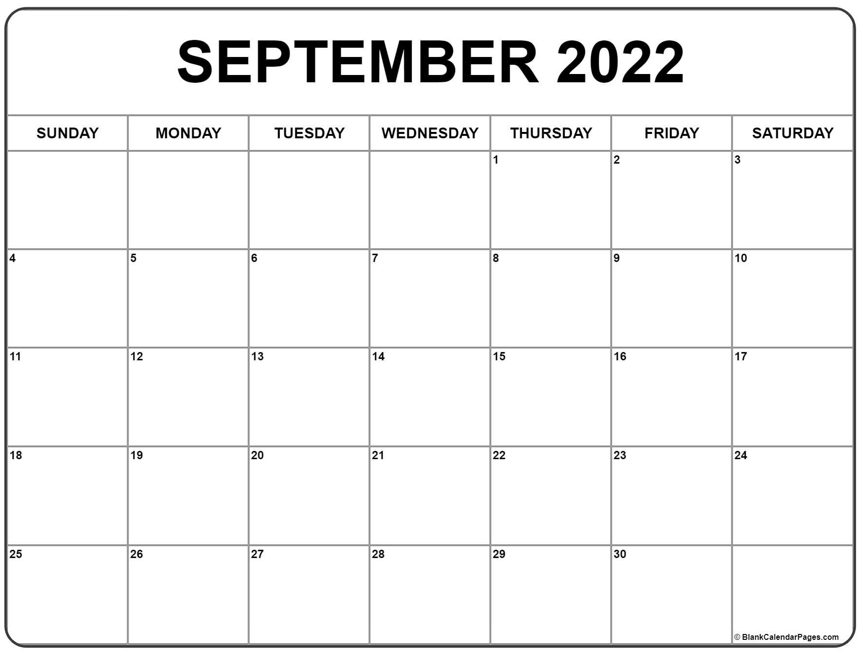 September 2022 Calendar | Free Printable Calendar Templates with regard to Monthly Calendar September 2022
