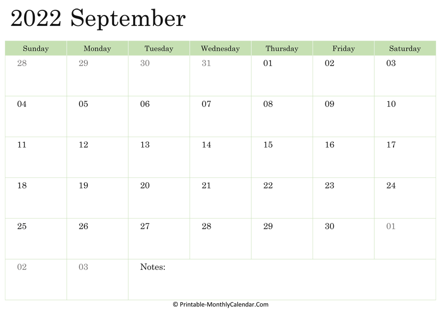 September 2022 Calendar Printable With Holidays within Monthly Calendar September 2022