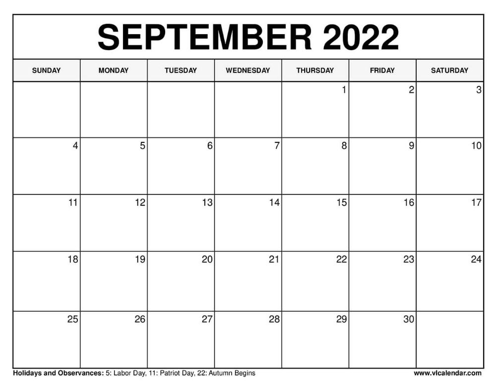 September 2022 Calendar | September Calendar, When Is intended for Printable Day Planner 2022 Image