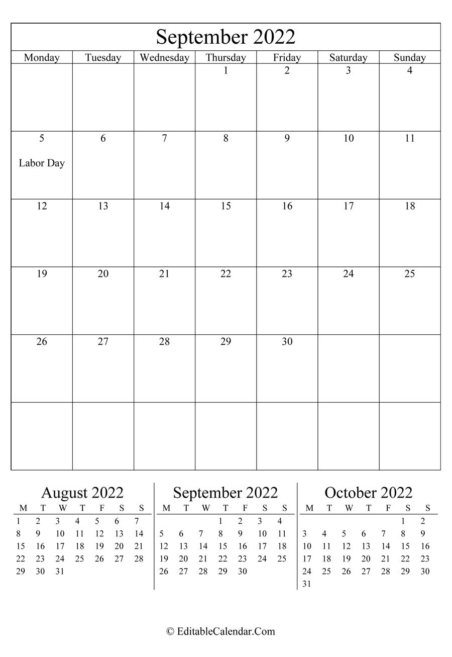 September 2022 Calendar Templates for Print Month Calendar September 2022
