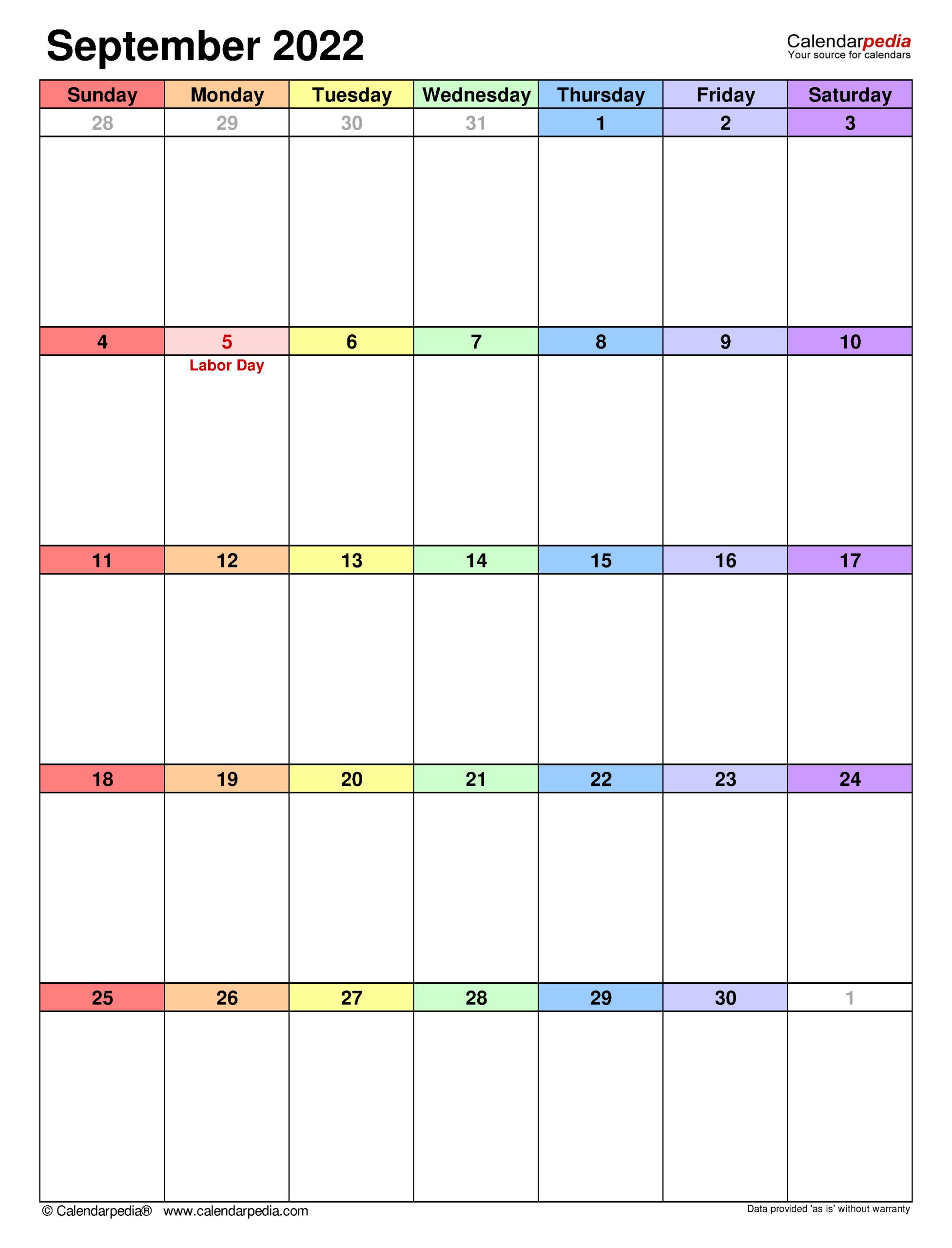 September 2022 Calendar | Templates For Word, Excel And Pdf throughout Print Month Calendar September 2022
