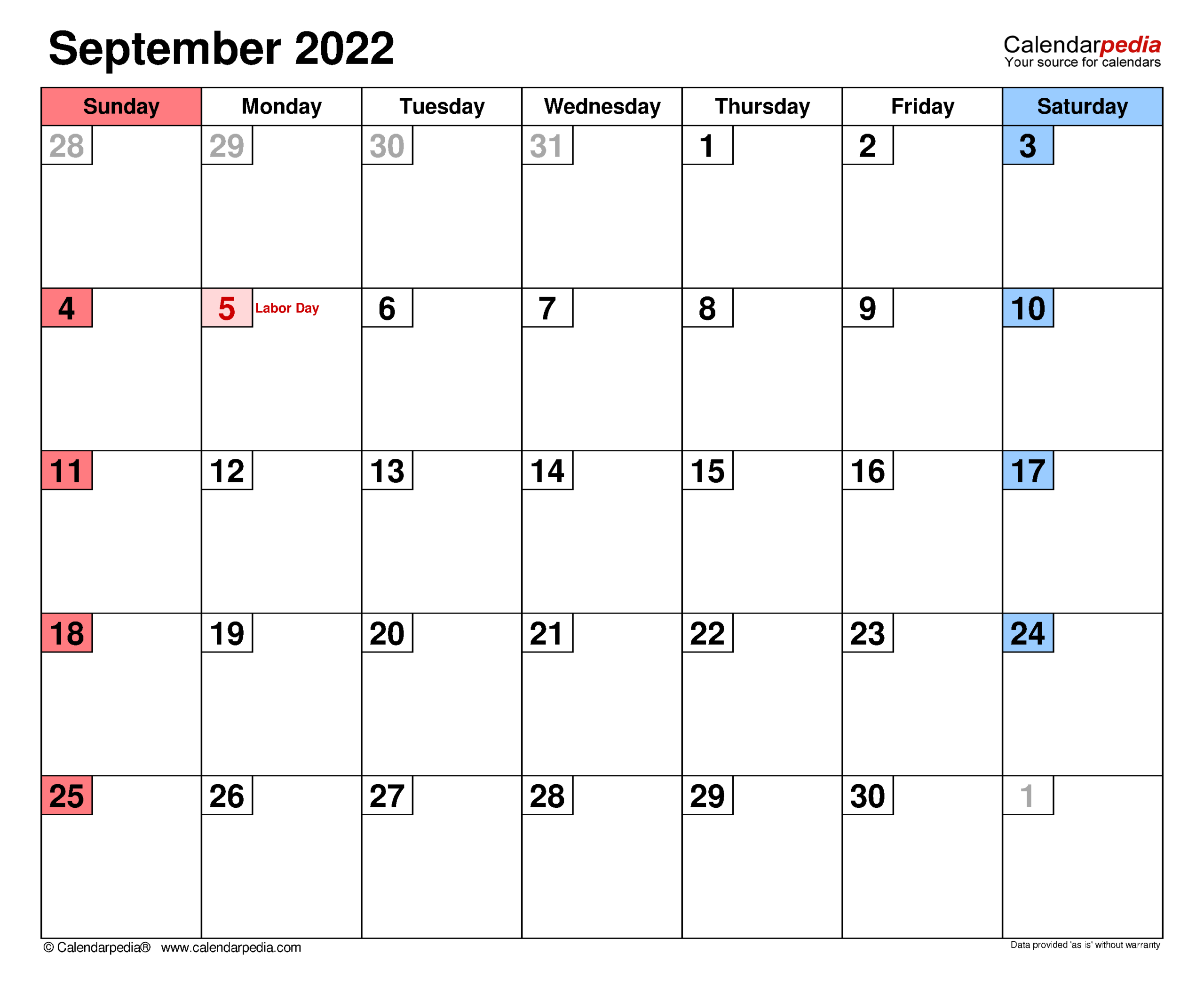 September 2022 Calendar | Templates For Word, Excel And Pdf within Print Month Calendar September 2022 Image