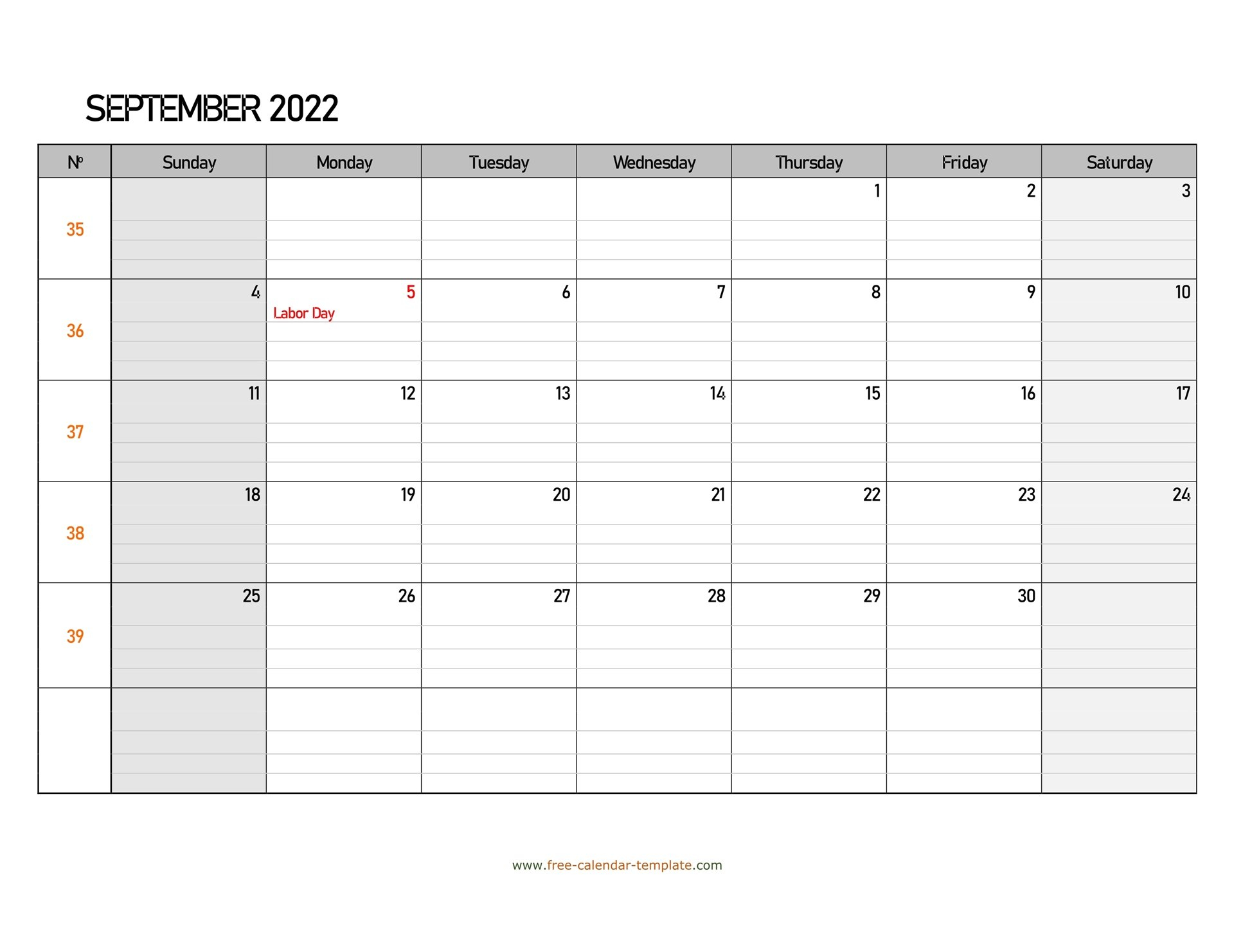 September 2022 Free Calendar Tempplate   Free-Calendar intended for September 2022 Calendar Template