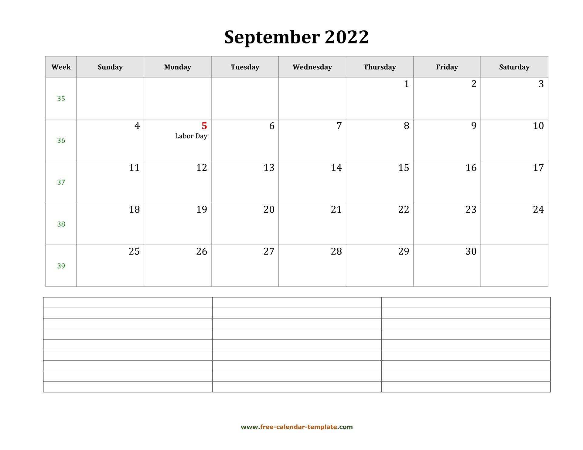 September 2022 Free Calendar Tempplate   Free-Calendar within September 2022 Calendar Template
