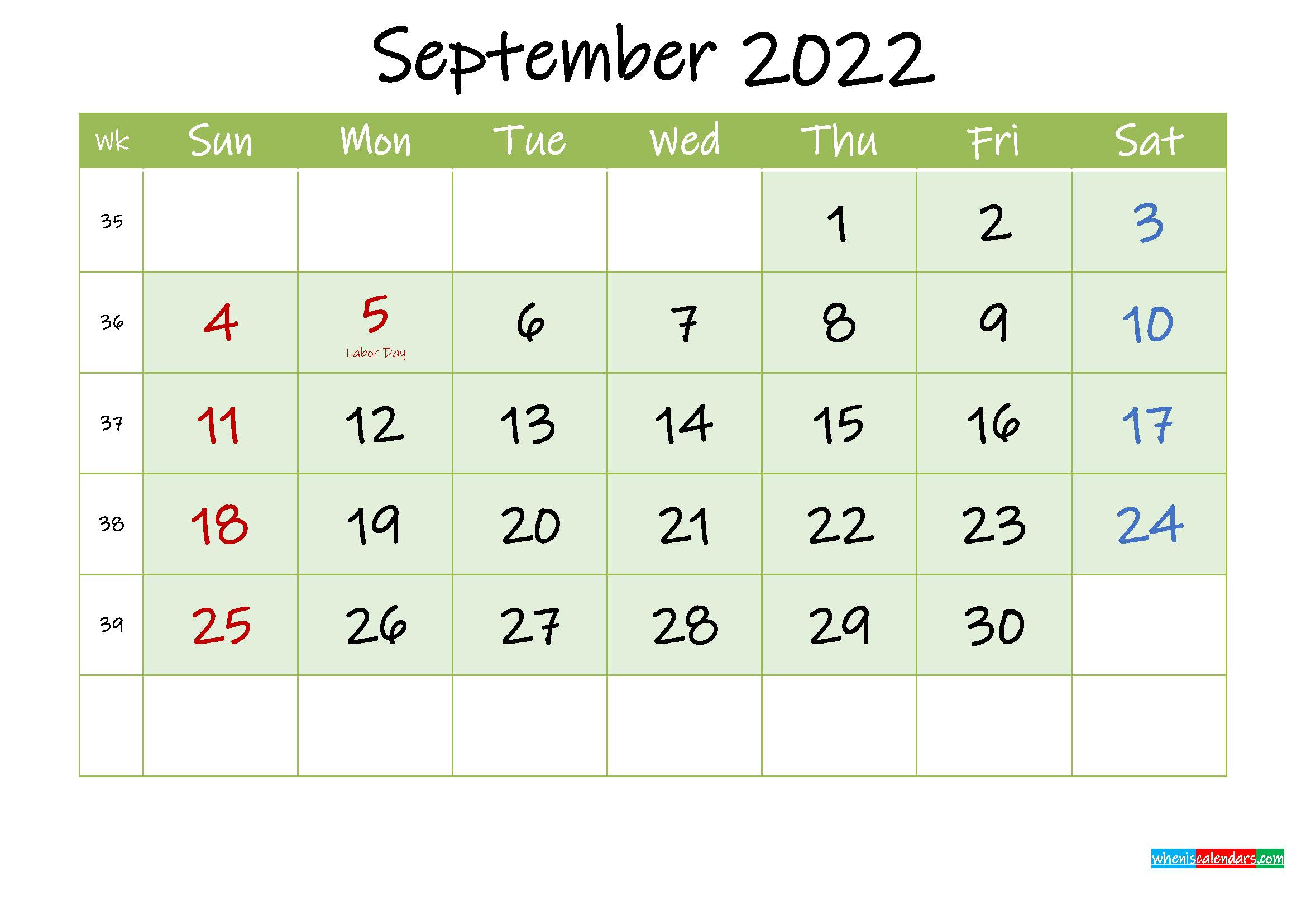 September 2022 Free Printable Calendar - Template Ink22M129 regarding Print July 2022 Ckander