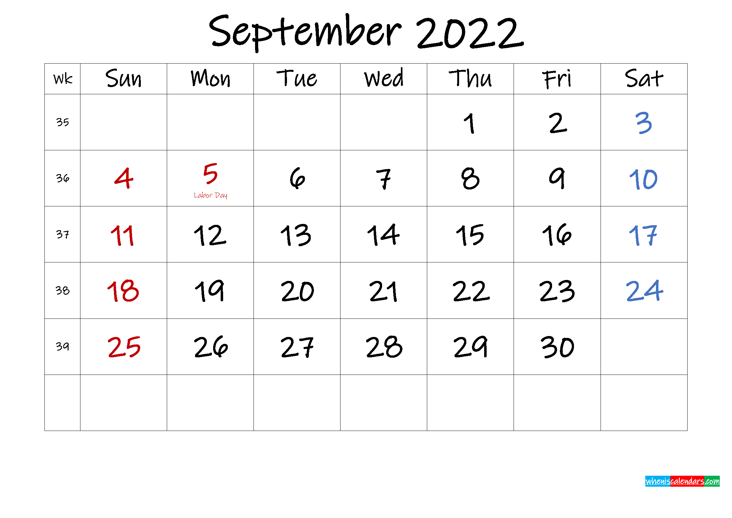 September 2022 Free Printable Calendar With Holidays within September 2022 Calendar Template