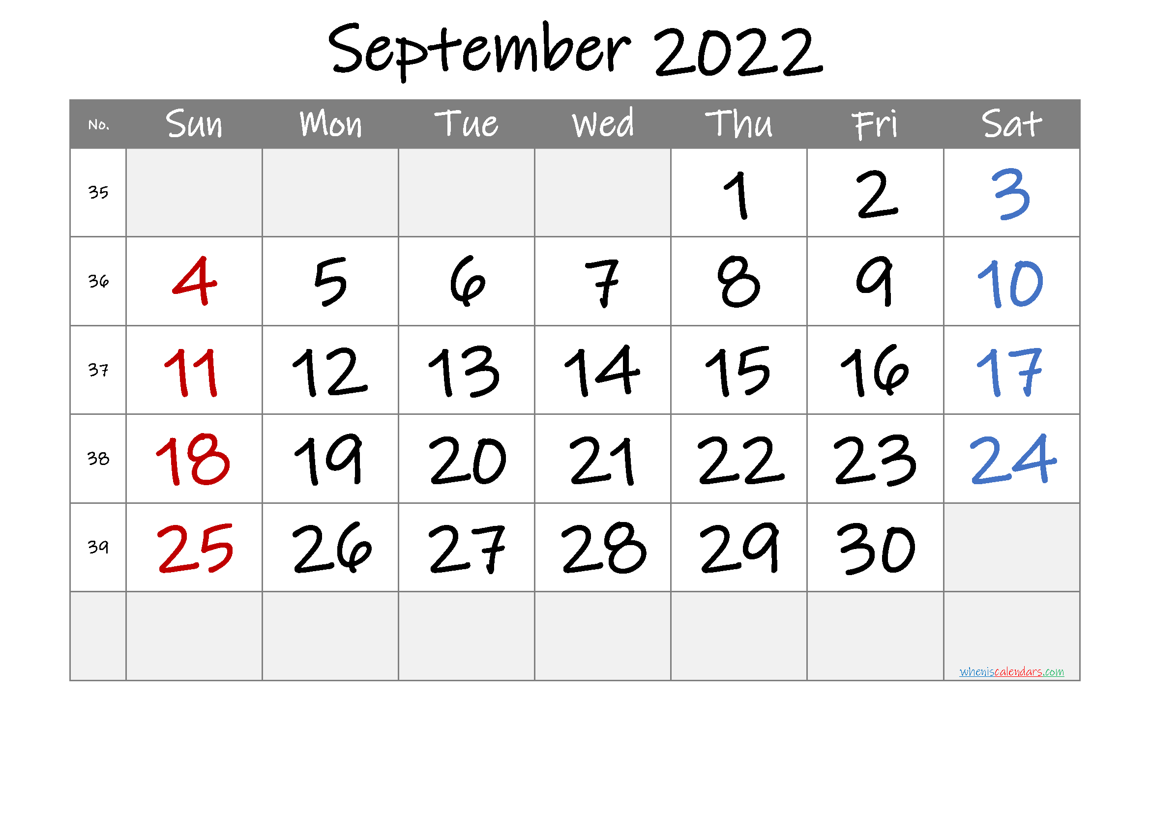 September 2022 Printable Calendar With Week Numbers [Free pertaining to Print Month Calendar September 2022