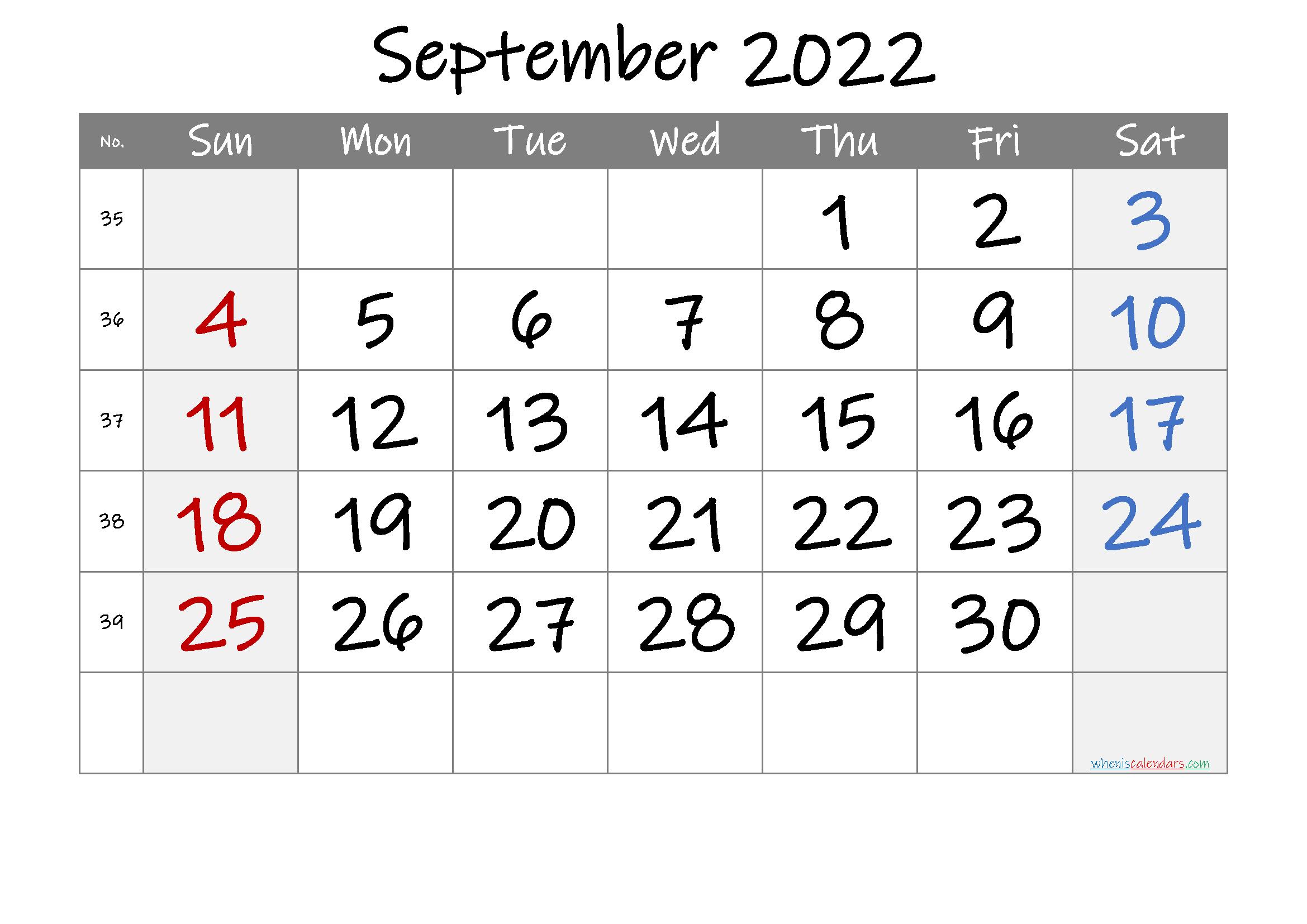 September 2022 Printable Calendar With Week Numbers [Free within September 2022 Calendar Template