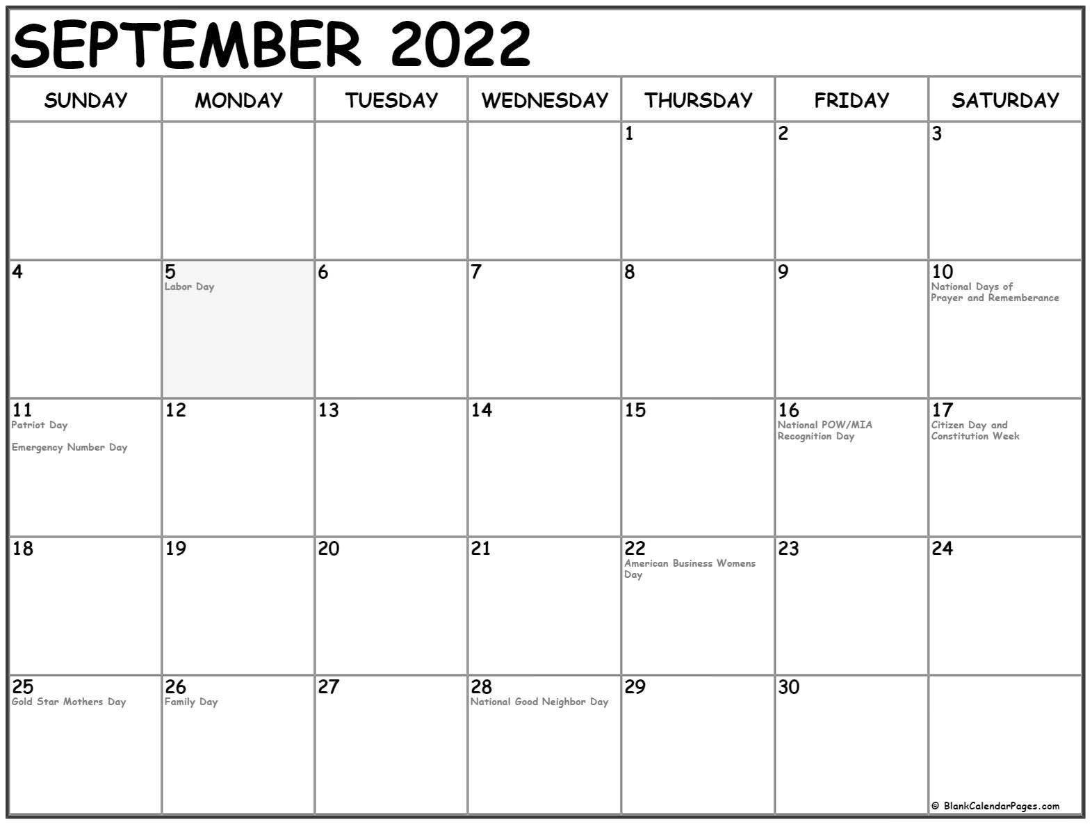 September 2022 With Holidays Calendar within Print Month Calendar September 2022 Image