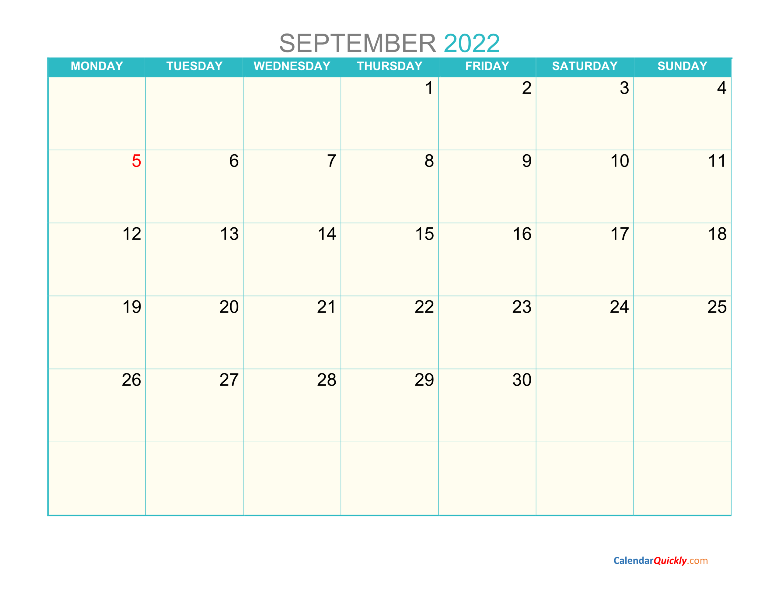September Monday 2022 Calendar Printable   Calendar Quickly regarding September 2022 Calendar Template