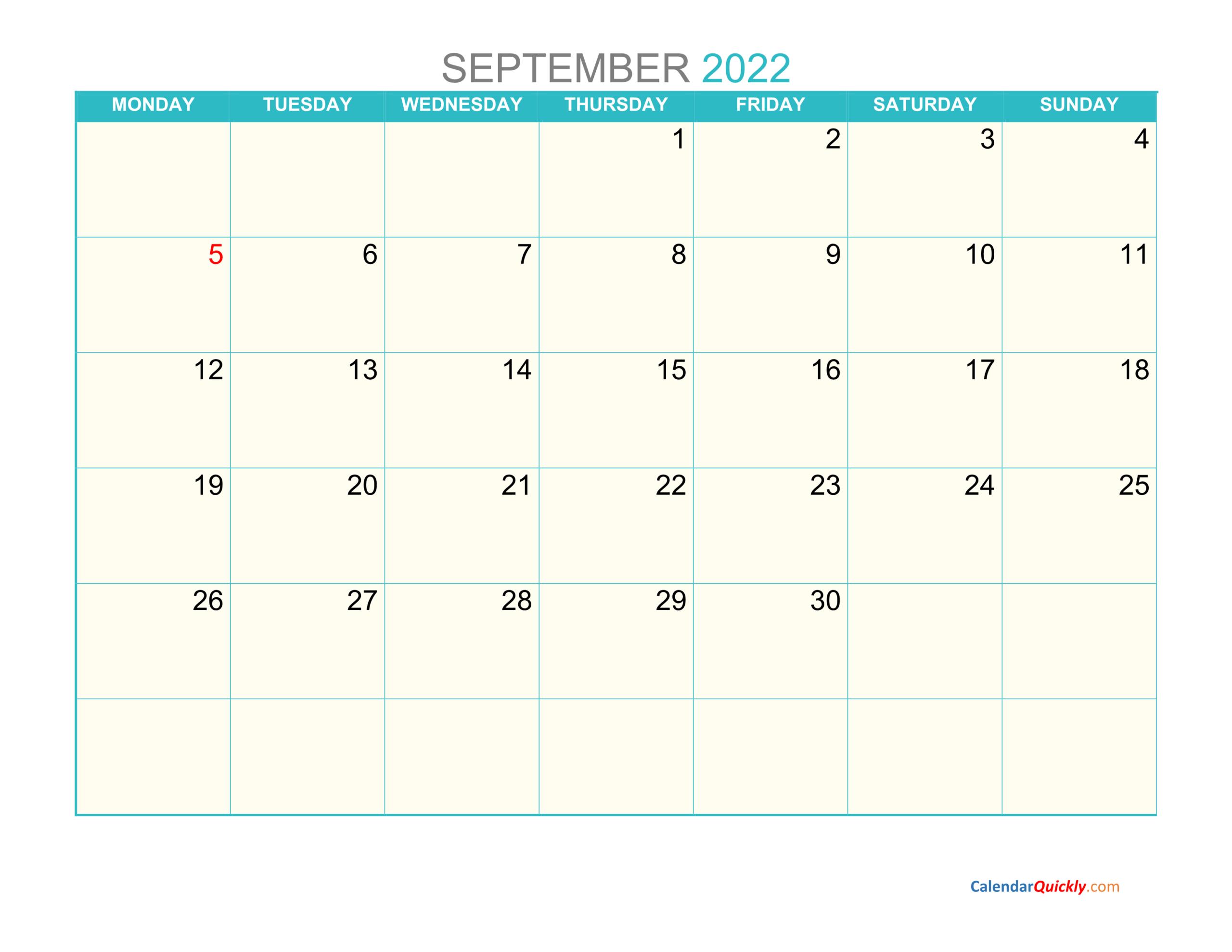 September Monday 2022 Calendar Printable | Calendar Quickly with regard to Print Month Calendar September 2022
