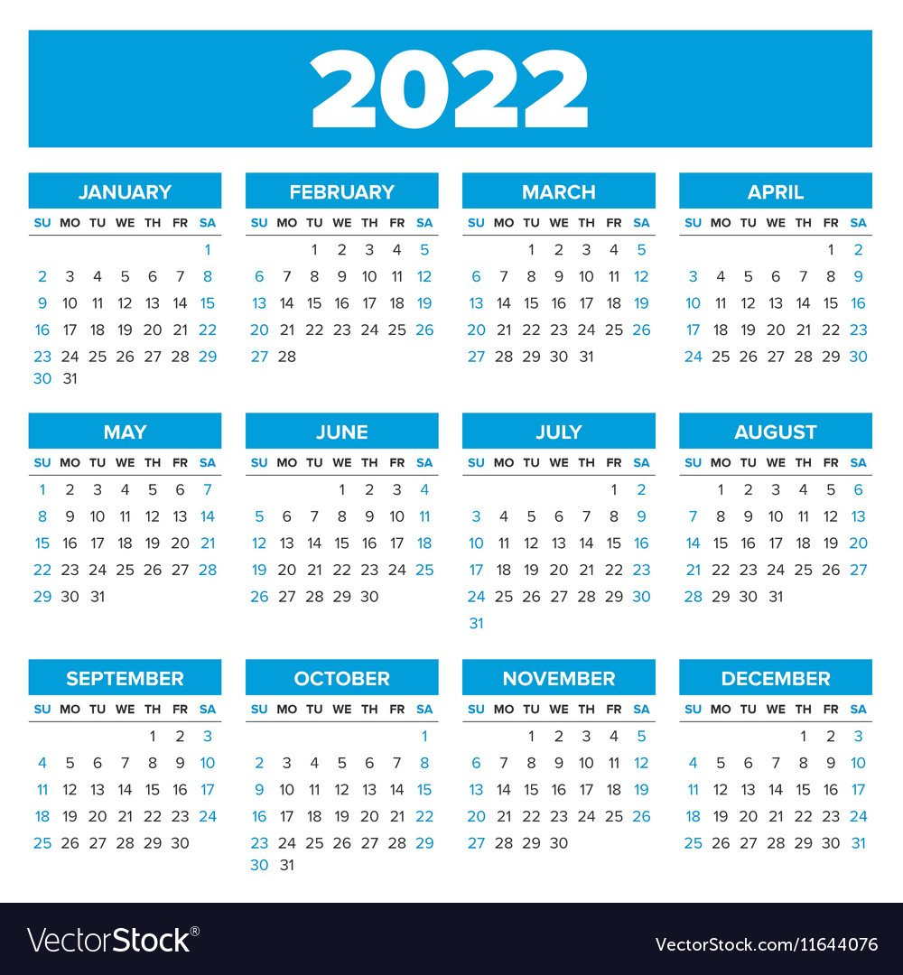 Simple 2022 Year Calendar Royalty Free Vector Image within Free Online Calendar Planner 2022 Image