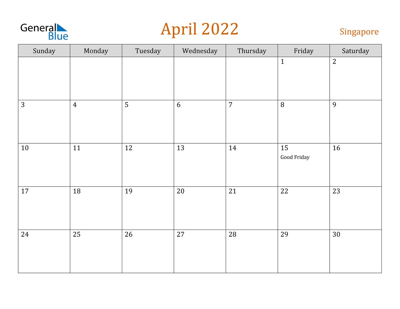 Singapore April 2022 Calendar With Holidays regarding Print Calendar April 2022 Photo
