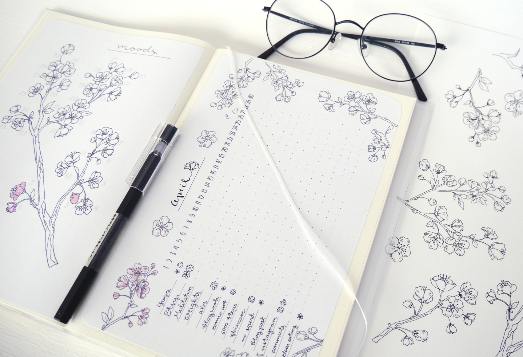 Spring Bullet Journal Layout : Cherry Blossoms — Evydraws with Bullet Journal April Layouts