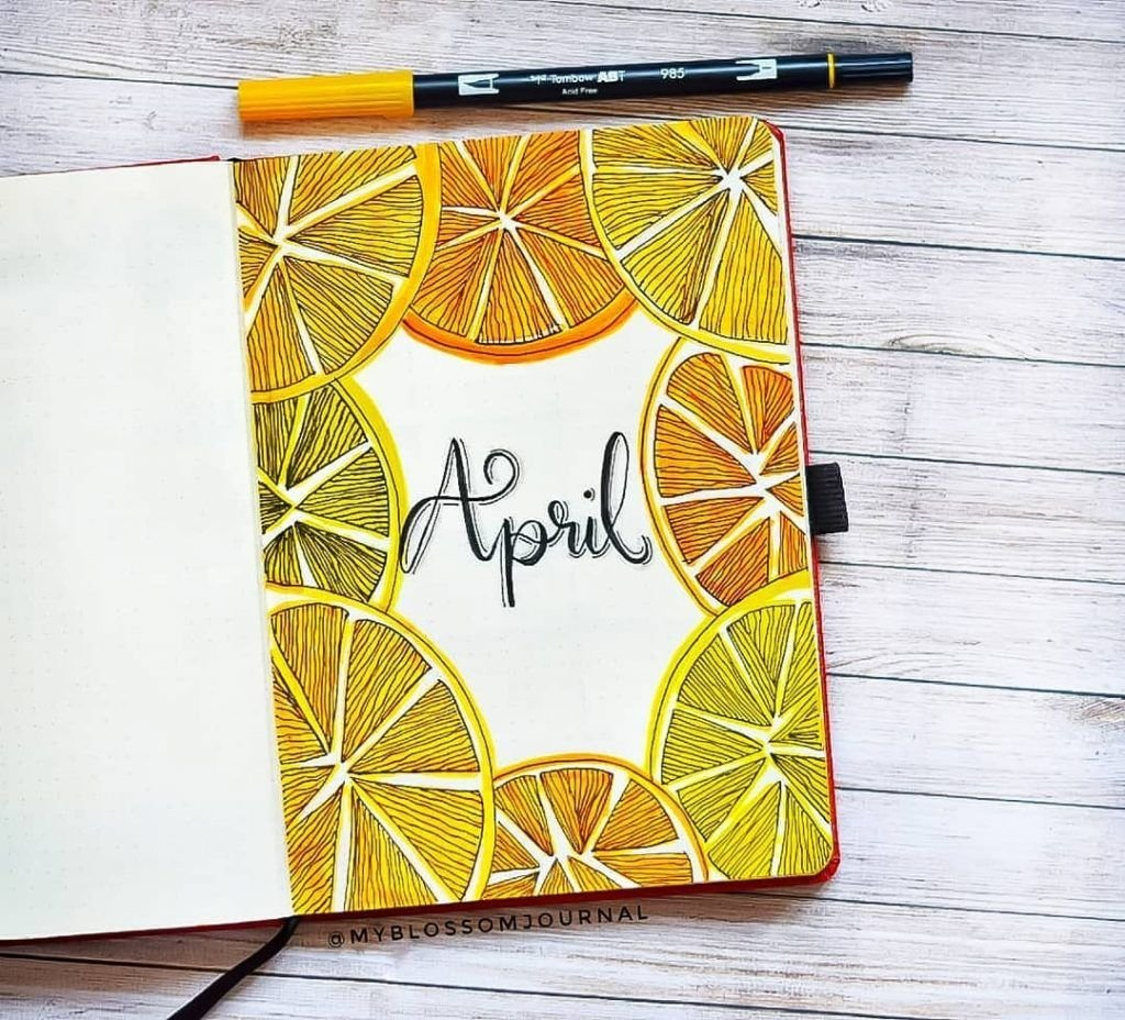 Summer Bullet Journal Cover Page Ideas | Heraldeecreates in April Bullet Journal Theme Image