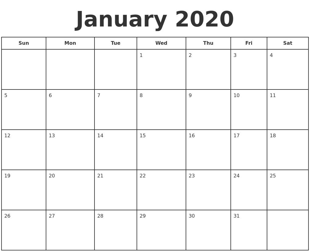 Take Free 2020 Calendar January Thur December Printable with Free Printable December January Calendar Graphics