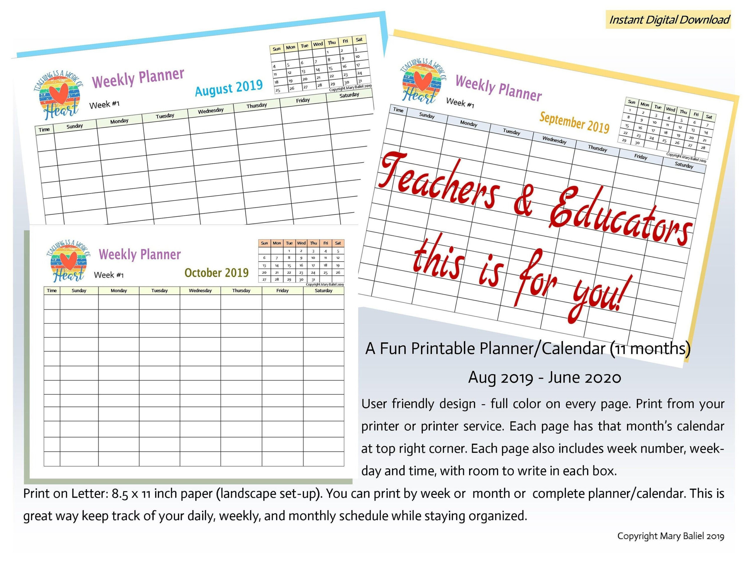 Teachers, Educators, Planner, Schedule, Calendar, Time within Weekly Planner For Teachers Image