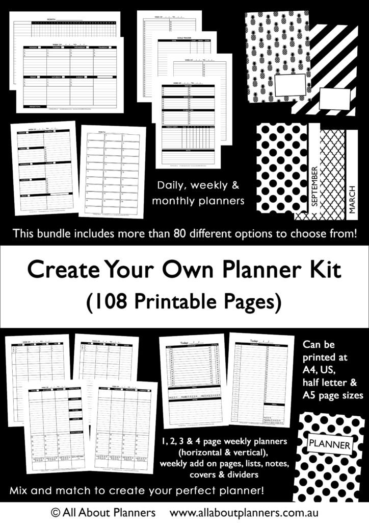 The 'Create Your Own Planner Kit' (108 Printable Pages To in How To Make Planner Printables