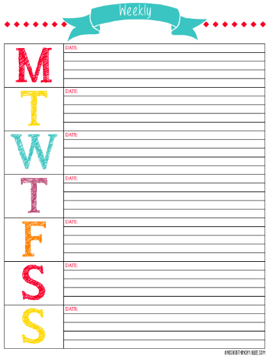The Mega List Of Free Printable Calendars And Planners For regarding Free Printable Weekly Planner