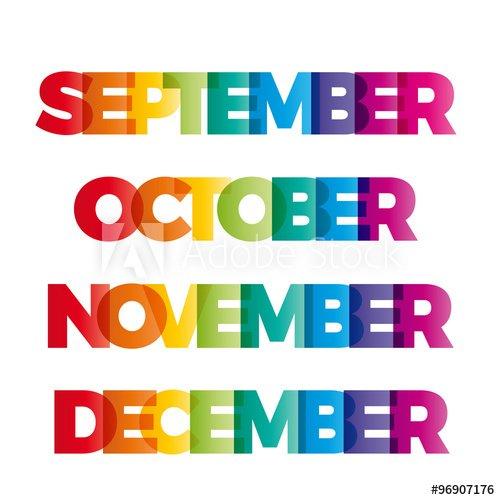"""The Words September, October, November, December. Vector within December January Calendar Banner Graphics"