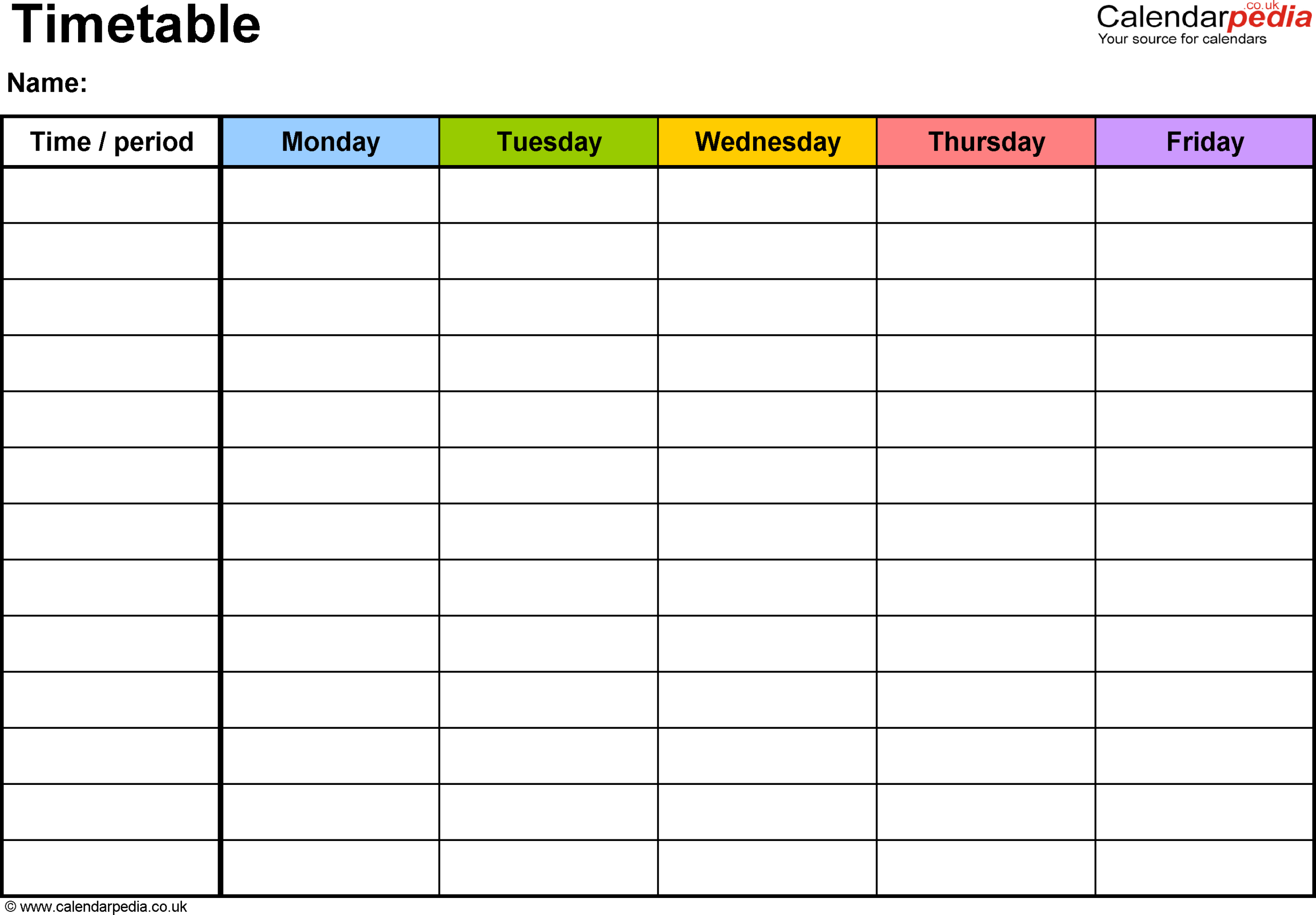 Timetables As Free Printable Templates For Pdf   Daily with regard to Two Week Planner Pdf Image