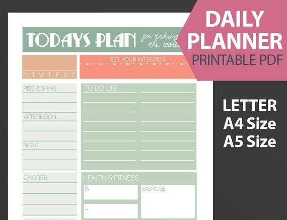 Todays Plan Printable Pdf Planner Design Your Day Design pertaining to Design Your Life Planner Pdf