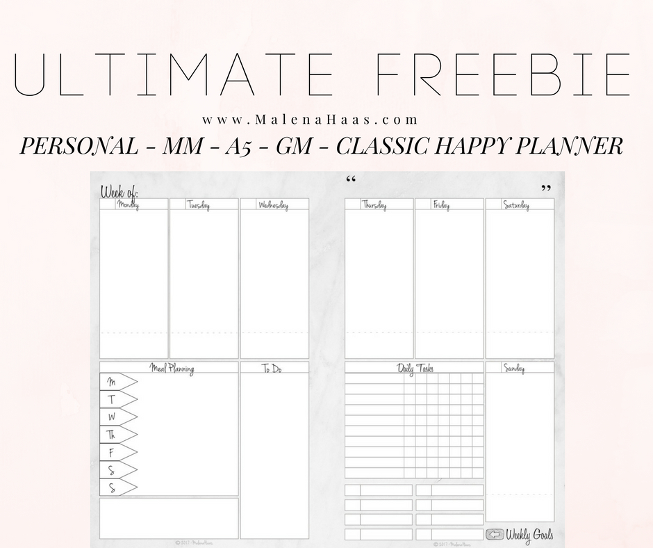Ultimate Freebie Friday Week On Two Pages In Three Sizes regarding Free Happy Planner Monthly Printable Photo