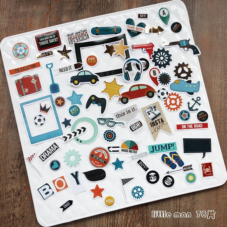 Vuawrtg 78Pcs Boy Series Die Cuts Stickers For with The Happy Planner Journaling Stickers Image