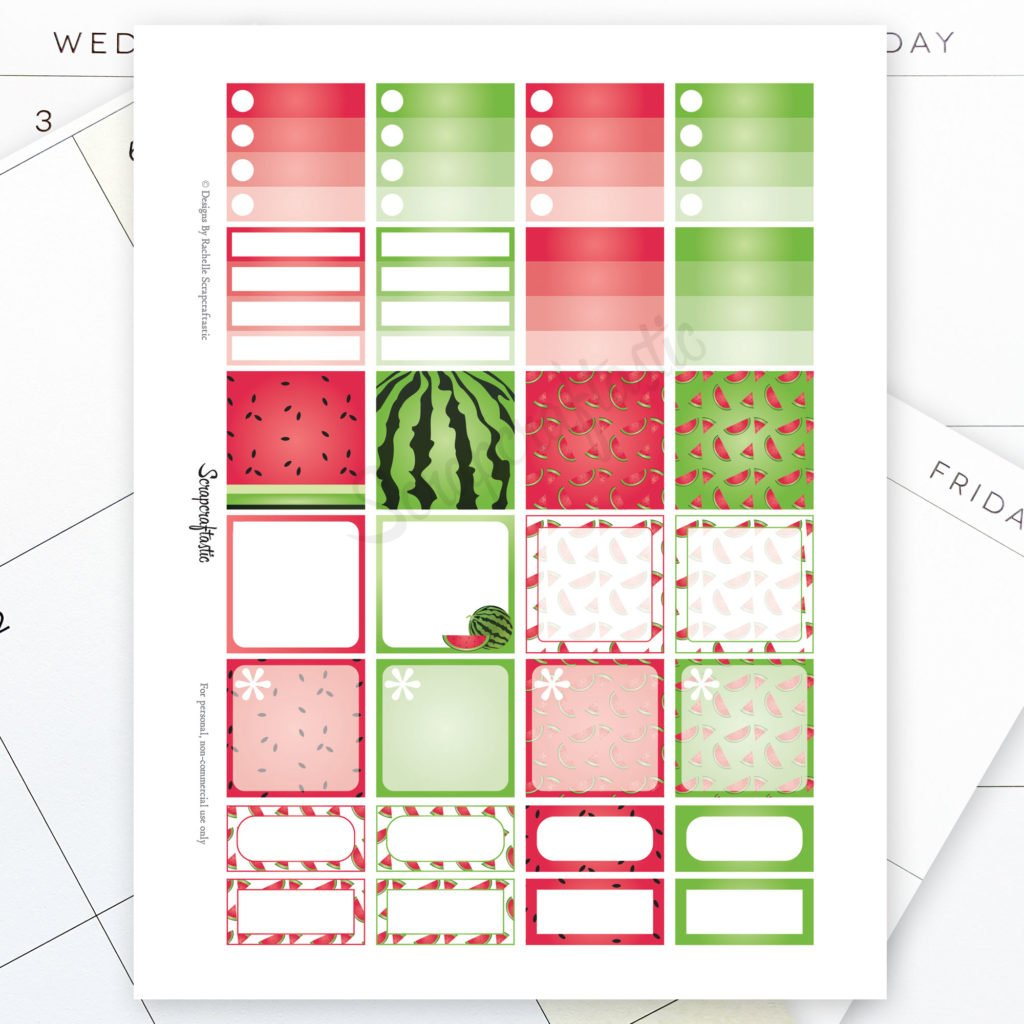 Watermelon Monthly Layout Printable Planner Stickers For intended for Free Happy Planner Stickers Printable