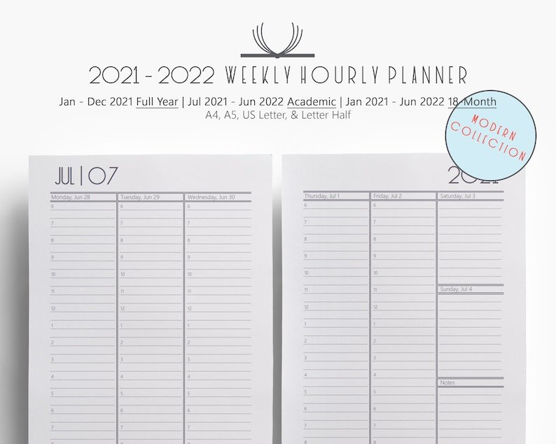 Weekly 2021 2022 Weekly Hourly Planner Printable A4 A5 Us intended for Printable Daily Planner 2022