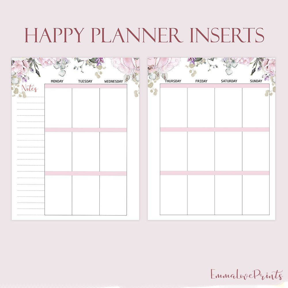 Weekly Insert Made To Fit Happy Planner Printable Inserts pertaining to Planner Insert Printables Book Photo
