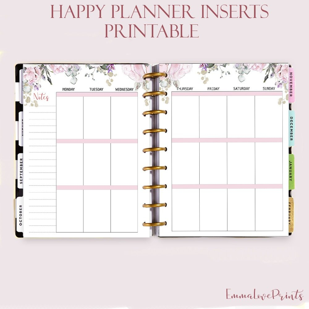 Weekly Insert Made To Fit Happy Planner Printable Inserts regarding Planner Insert Printables Book Photo