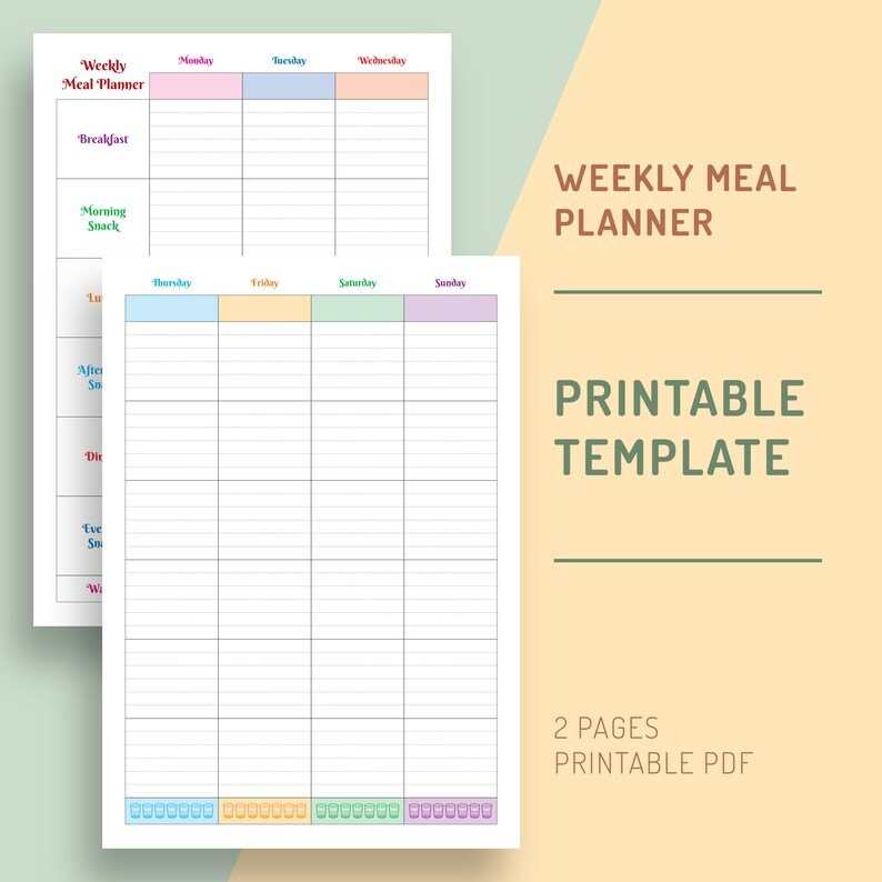 Weekly Meal Planner Printable Two Page Meal Plan Template pertaining to Two Week Planner Pdf