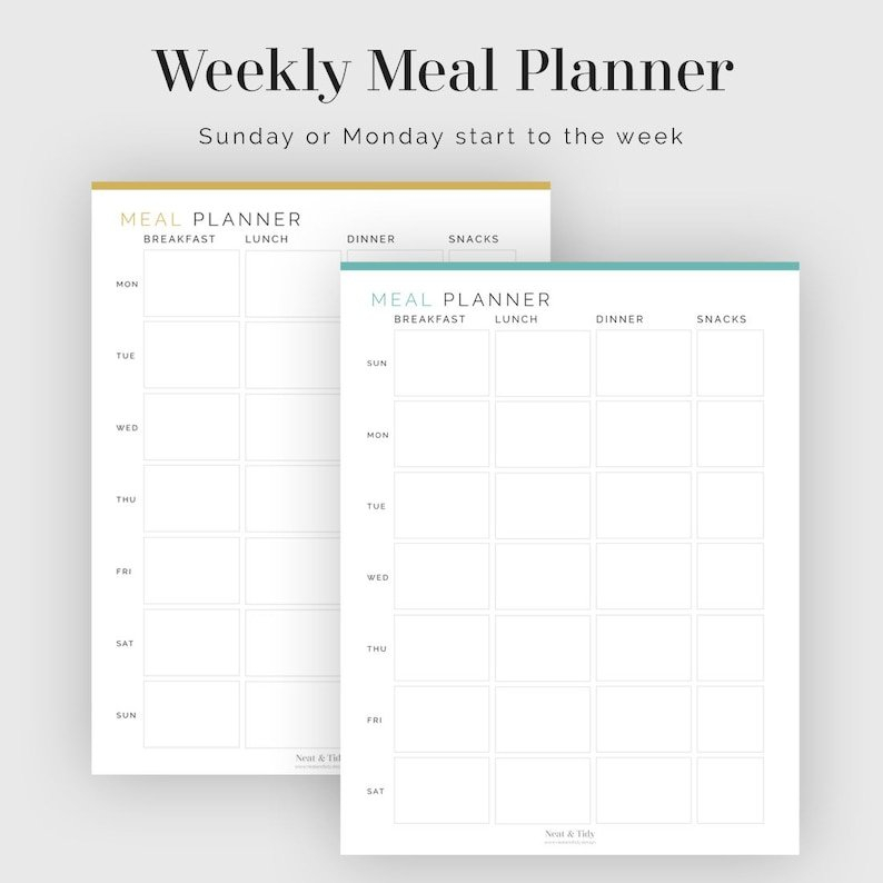 Weekly Meal Planner Sunday Or Monday Start Fillable | Etsy throughout Weekly Planners That Start On Sunday