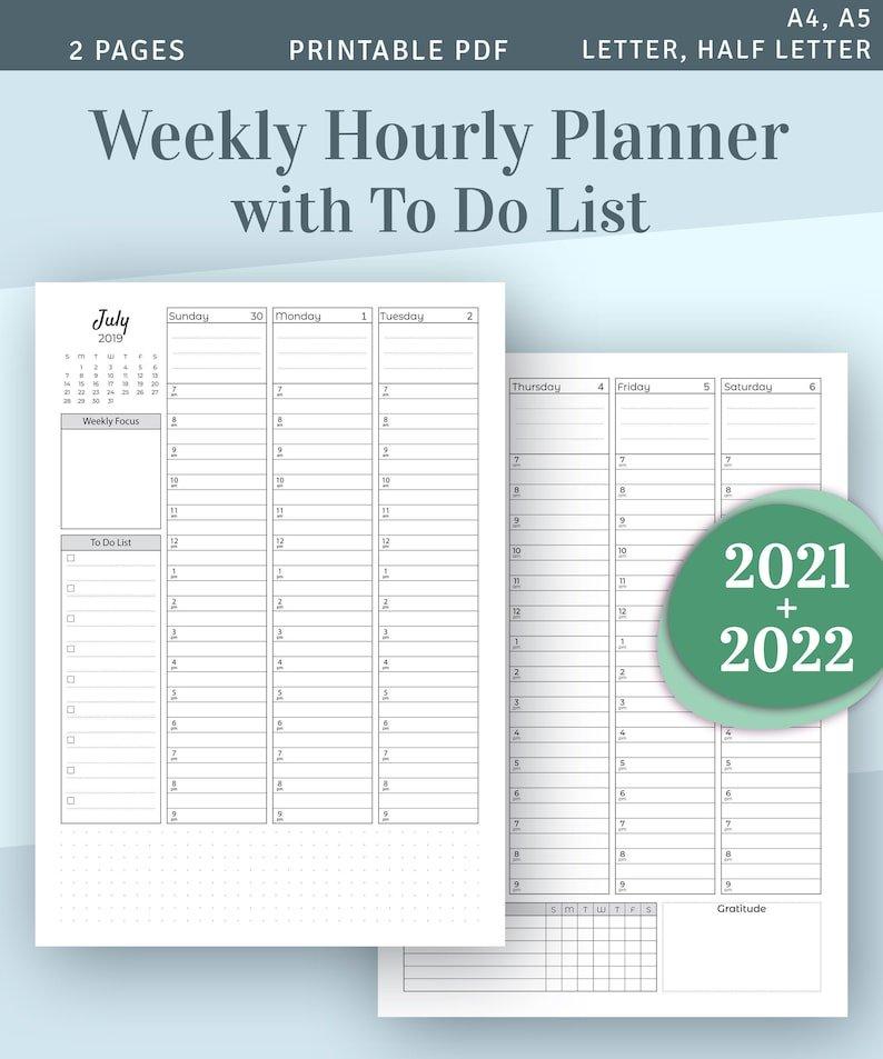Weekly Planner 2021 2022 Printable Weekly Agenda Template in 2022 Daily Planner Printable