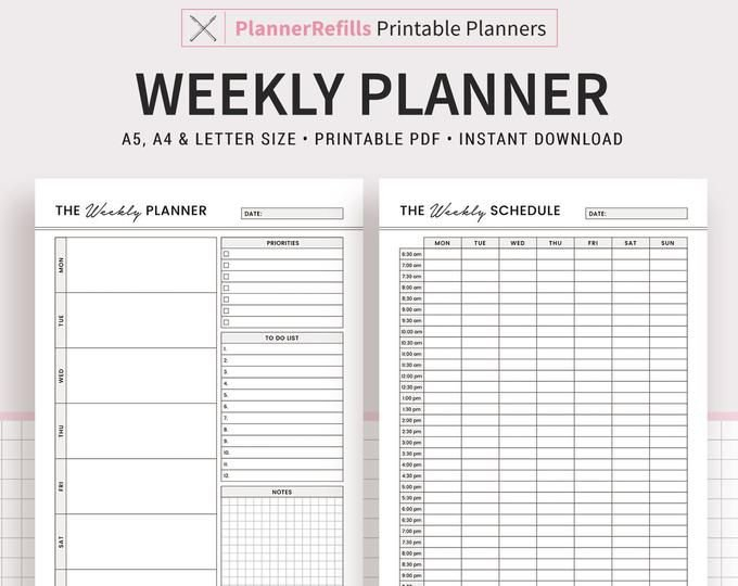 Weekly Planner 2021 2022 Printable Weekly Agenda Template within 2022 Daily Planner Printable Photo