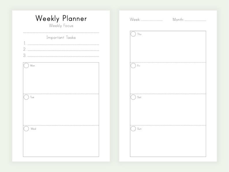 Weekly Planner Pages Week On Two Pages Printable Half Size pertaining to Two Week Planner Pdf