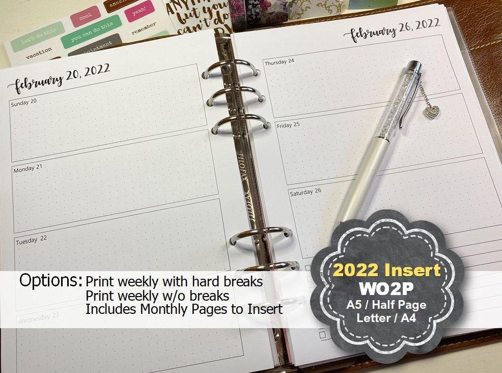 Weekly Planner Printable 2022, Weekly Planner Inserts regarding 2022 Daily Planner Printable Photo