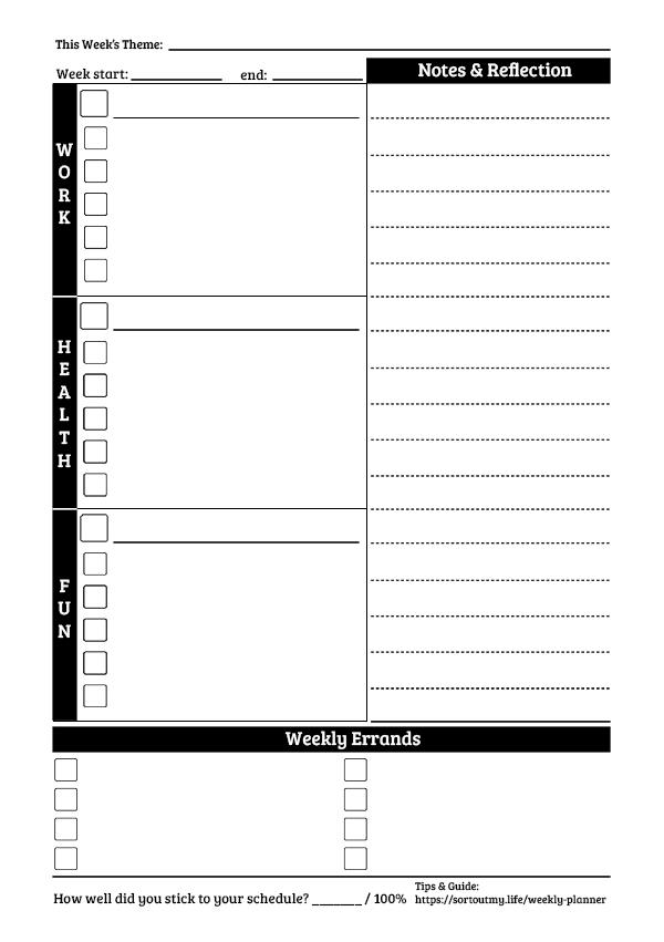 Weekly Planner Template - Free Pdf Download   Sortoutmy.life regarding Weekly Planner For Teachers Template