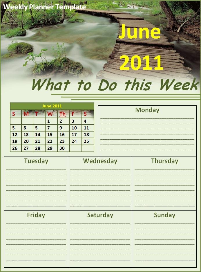 Weekly Planner Template | Free Printable Word Templates intended for Free Weekly Planner Printables