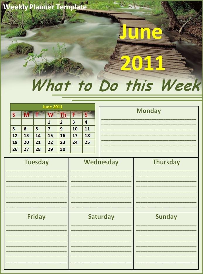 Weekly Planner Template   Free Printable Word Templates regarding Weekly Planner Printable Free Photo